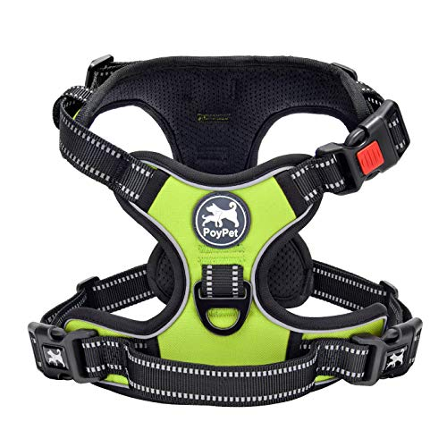 PoyPet No Pull Dog Harness, No Choke Front Lead Dog Reflective Harness, Adjustable Soft Padded Pet Vest with Easy Control Handle for Small to Large Dogs(Green,S)