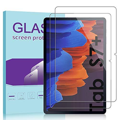 Janmitta für Samsung Galaxy Tab S7+ / S7 Plus Panzerglas Schutzfolie [2-Stück], HD Panzerfolie 9H Gehärtetem Glass [Anti-Kratzen][Anti-Bläschen] Displayschutzfolie Tab S7 Plus (12.4 Zoll)