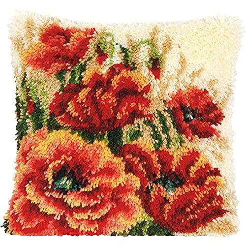 Kit de gancho para cojín (43 × 43 cm) Kit de lana de ganchillo para tapicería, para adultos,...