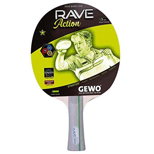 GEWO Rave Action konkav Tischtennisschläger, Hell-Grau, One Size