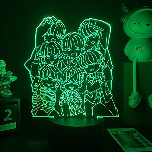 Lámpara de ilusión de luz de noche Led 3D Usb Anime Korean Idol Group Bangtan Boys Bedside Home Decor