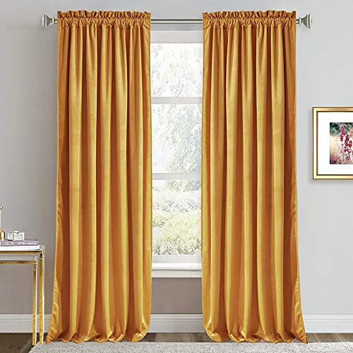 RYB HOME Velvet Curtains 84 inches - Super Soft Home Decor Room Darkening Curtains for Living Room, Thermal Insulated Velvet Drapes for Bedroom Nursery, 52 x 84 inch, Warm Gold, 1 Pair