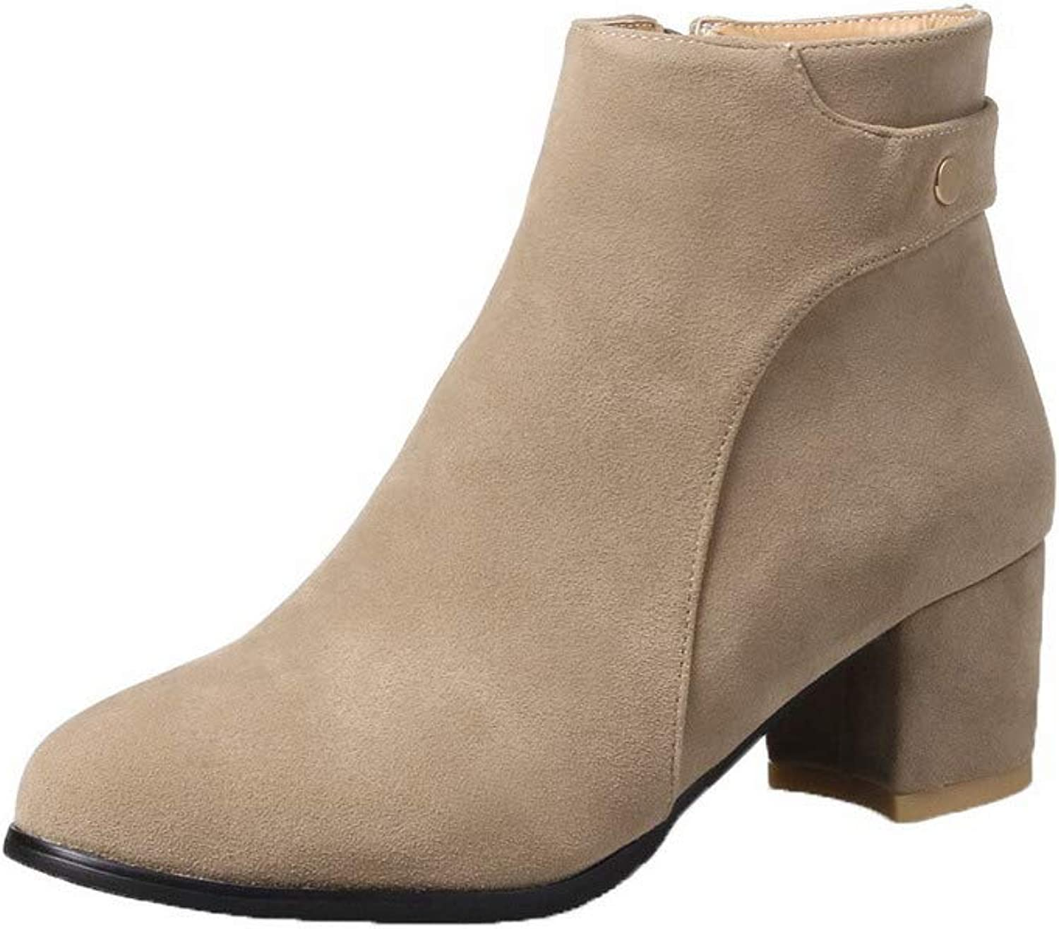 WeiPoot Women's Round-Toe Low-Top Kitten-Heels Solid Imitated Suede Boots, EGHXH116870