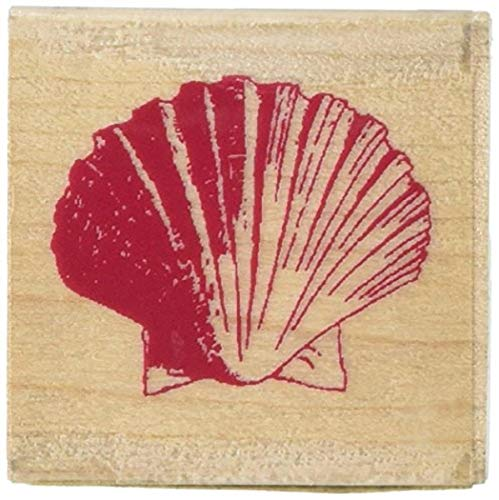 Inkadinkado Wood Sea Shell Stamp for Arts and Crafts, 1.5' x 1.5'