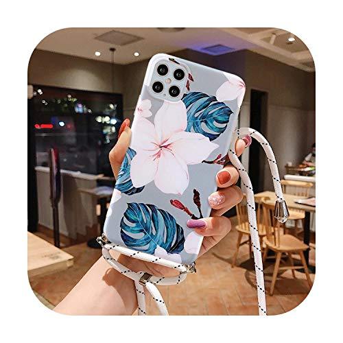 Schutzhülle für iPhone 12, Retro, Blumen, weich, IMD, matt, mit Umhängeband, für iPhone 11 Pro Max X XS XR 7 8 6 Plus SE 2020, mit Riemen-T2-For iPhone 6