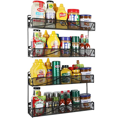 Veesun Wall Spice Rack Organizer-2 Pack 2 Tier Mesh Kitchen Counter-top or Wall Mount Spice Rack Shelf Storage Holder for Cabinet Pantry Door Black
