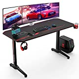 VANSPACE 55 Inch Gaming Desk with Free Mouse Pad, Ergonomic T-Shaped Office Desk PC Computer Desk, Gamer Tables Pro Workstation with USB Gaming Handle Rack, Stand Cup Holder&Headphone Hook