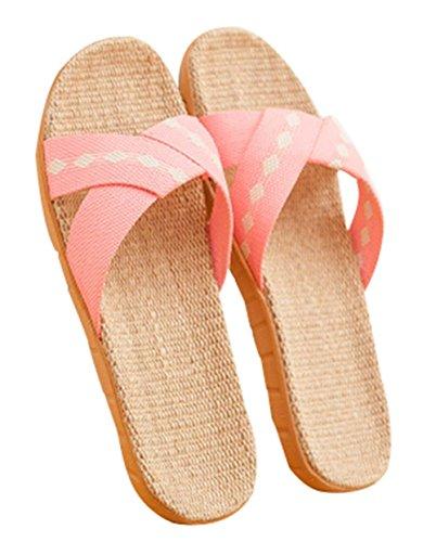 Lovely Pink Sandalias Antideslizantes para el Piso Mujer Verano Casa Zapatillas de Lino
