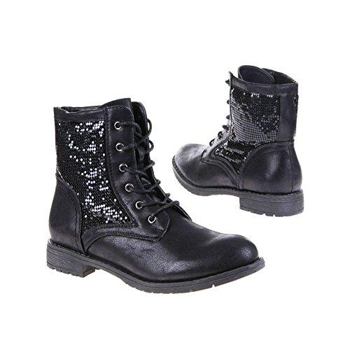 SDS, Damen Stiefel & Stiefeletten, schwarz - schwarz - Größe: 36 EU
