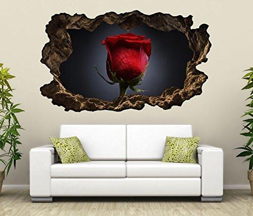 3D Wandtattoo rote Rose Blume schwarz weiß Bild Foto Wandbild Wandsticker Wandmotiv Wohnzimmer Wand Aufkleber 11F166, Wandbild Größe F:ca. 140cmx82cm