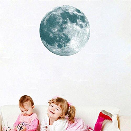 Hunpta Autocollant mural lumineux en forme de lune, 40 cm 3D Grande lune fluorescente amovible phosphorescente (A)
