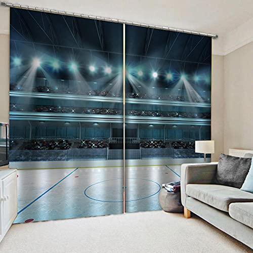 WAFJJ Cortina de Tela de Cortina 3D Cancha Azul y de Baloncesto Personalizada Cortinas de Cortinas de Ventana 3D para Sala de Estar Bedroom Tamaño:2x140x175cm(An x Al)