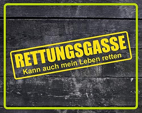 Dinger-Design Rettungsgasse Aufkleber Feuerwehr Polizei DRK Sticker Decal Stickerbomb gelb 60x15cm
