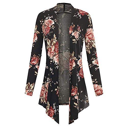 Ansenesna Mantel Damen Herbst Lang Blumen Aufdruck Elegant Langarm Cardigan Mädchen Slim Fit Asymmetrisch (Rot, S)