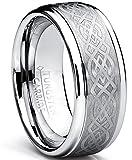Ultimate Metals Co. 8MM Herren Wolframcarbid Ring Mit Keltisch Design Größe 67.5