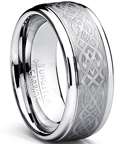 8MM Men's Tungsten Carbide Ring with Celtic Design, Size 11