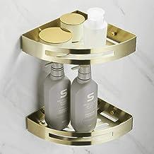 YAeele Badkamer Corner Stand Shower Caddy Rack Punch Gratis Gold Brushed Bathroom Shower Basket 1 Layer Corner Shelf Doubl...