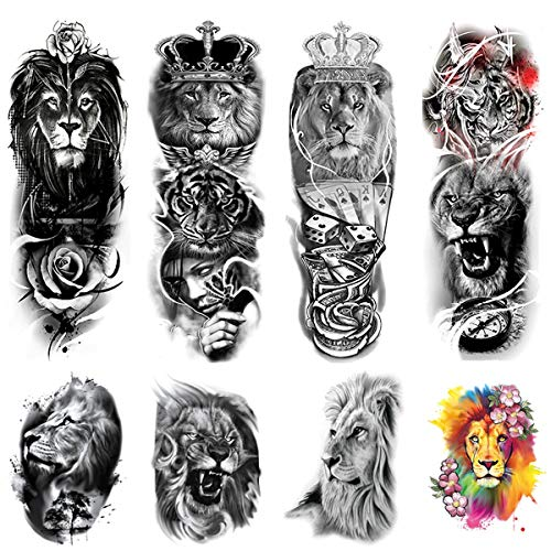 Kotbs 8 Sheets Full Arm Temporary Tattoos Sleeve and Half Arm Tattoos Temporary Stickers, Lion Animal Temporary Tattoo for Men Women Adults Fake Tattoos