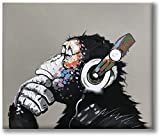 Art Funny Gorilla Thinking Monkey Listening to Music with Headphone Poster Canvas Wall Art Oil Paintings Paintings for Living Room Canvas Wall Art Print Decor Modern Artwork 16x20in Unframed