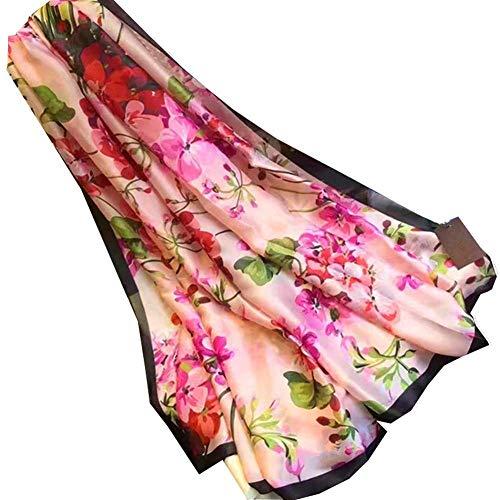 PULABO Sonnenschutz Schal weibliche Geranium Silk Print Schal Schal Long Beach Handtuch Praktisch