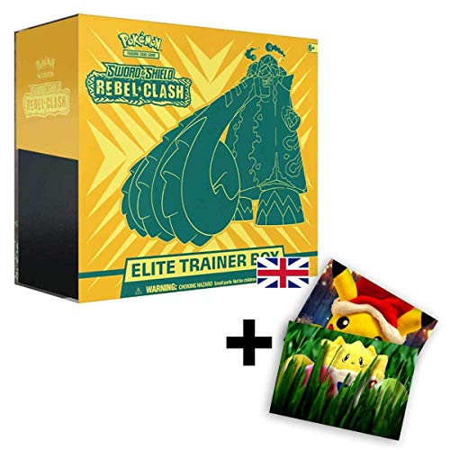 Lively Moments Pokemon Karten Elite Trainer Box Sword & Shield Rebel Clash (Clash der Rebellen) Englisch EN + Exklusive GRATIS Grußkarte