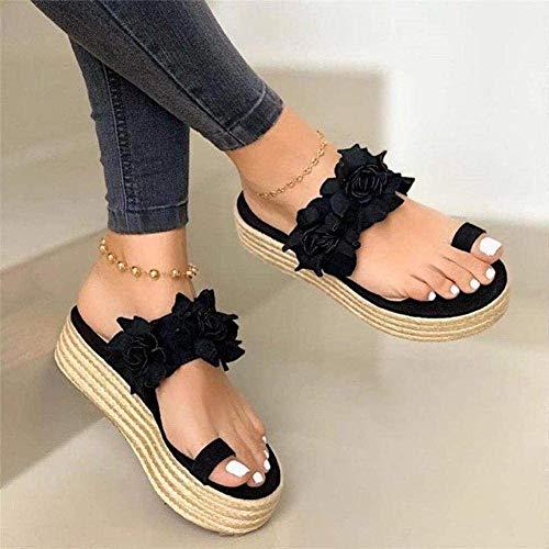 Slippers dames sandalen Romeinse platform sandalen hoge hakken muiltjes Comfortabele pantoffels met kurk voetbed platformschoenen,Black,39