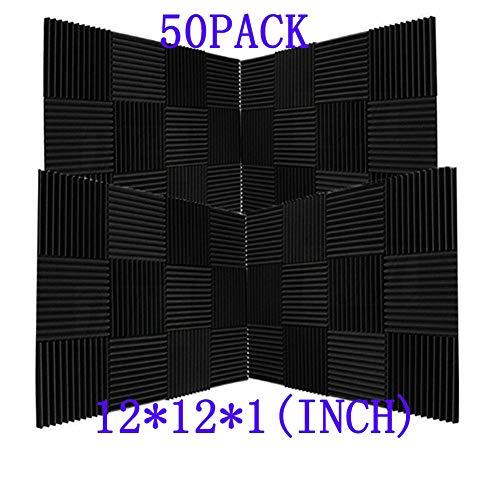 スーパーダッシュ 新しい50ピース 300 x 300 x 25mm ピラミッド 吸音材 防音 吸音材質ポリウレタン (50Pcs, Black)