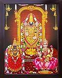 Handicraft Store Lord Balaji/Tirupati Balaji/Venkateswara/Lakshmiji with Balaji and Goddess Lakshmi, A Religious Poster Painting for Wealth. Prosperity Home/Office for Good Luck