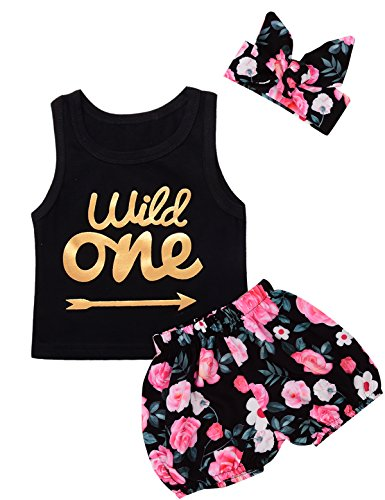 Baby Girls First Birthday Short Set Wild One Vest Skirt with Headband (12-18 Months,Black)