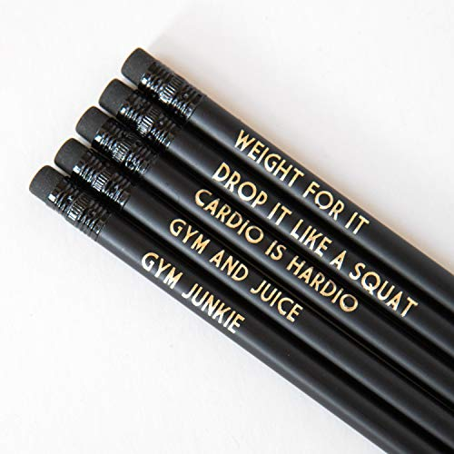 Bettie Confetti Funny Pencils For Gym Goers, Pack of 5, Black Stationery for Fitness Fanatics or Personal Trainers with Cheeky Slogans | Adult Pun HB Pencils, For New Job Gifts or Leaving Present