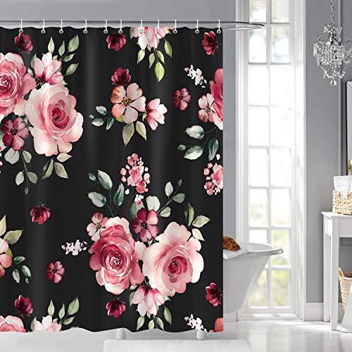 Bonhause Duschvorhang 180 x 180 cm Rosa Blume Pfingstrose Duschvorhänge Anti-Schimmel Wasserdicht Polyester Stoff Waschbar Bad Vorhang für Badzimmer mit 12 Duschvorhangringen