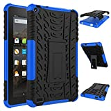 QIUUE Ebook Case Cover Rubber Shockproof Hybrid Hard Case Cover Stand Holder for Kindle Fire HD7 2015 (Blue)