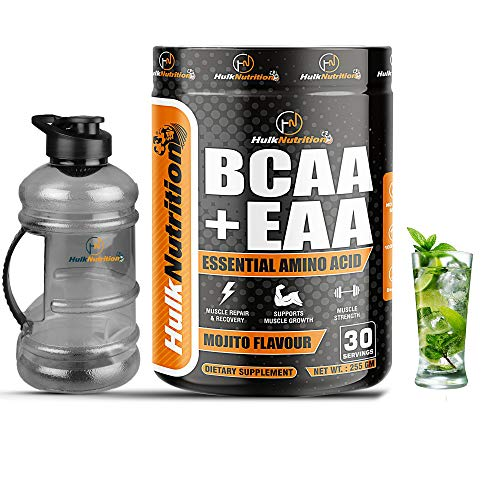 HulkNutrition EAAs-BCAA Energy Drink for Workout | Pre/Post Workout Supplement | Recovery | Muscle Protein Synthesis | EAAs-BCAA, All 9 Essential Amino Acids [30, Mojito, 255g] Free Gallon Shaker