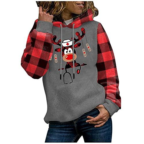 """Baiomawzh Felpa da donna con cappuccio a quadretti rossi e patchwork con cappuccio, per ragazze e bambine, con scritta """"Merry Christmas"""", Grigio 1, S"""