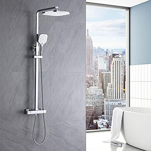 Auralum Set de ducha Termostatico grifo, Columna de ducha para baños, Sistema de ducha con 10'' ducha de lluvia y 3 Funciones Ducha de Mano. Barra Altura Ajustable