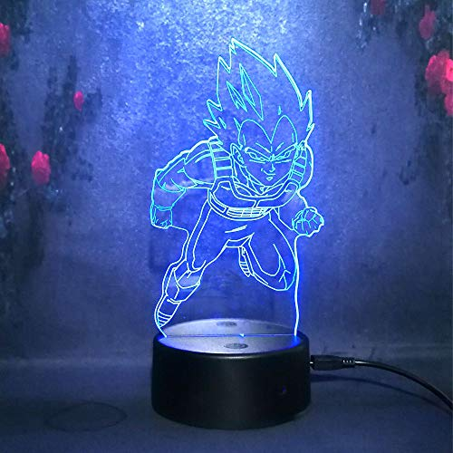Dragon Ball Z Super Saiyan God Goku Vegeta 7 Color LED Lamp Remote Control Table Desk lamp for Kid Night Light Gift for teens Japan Figure Action Toy Home Decorative USB Charge Battery Powered