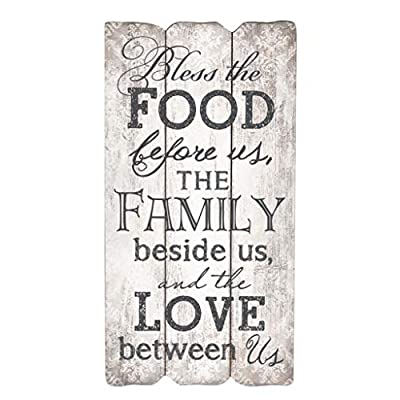 P. Graham Dunn Bless The Food Family and Love 12 x 6 Small Fence Post Wood Look Decorative Sign Plaque