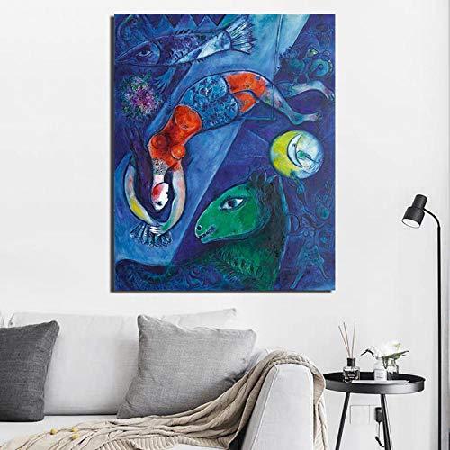 Chihie Marc Chagall Der Blaue Zirkus Leinwand Malerei Poster Drucke Marmor Wandkunst Malerei Dekorative Bild Moderne Home Decoration 60cm x90cm No Frame