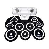 Übungsmatten-Kit für Instrumententrommeln USB-tragbare Spielkonsole mit Pedalbatterie, mit Audioplayer, geeignet für Anfänger und kinderlaminierter elektronischer DTTX Elektronisches Schlagzeug für Ki