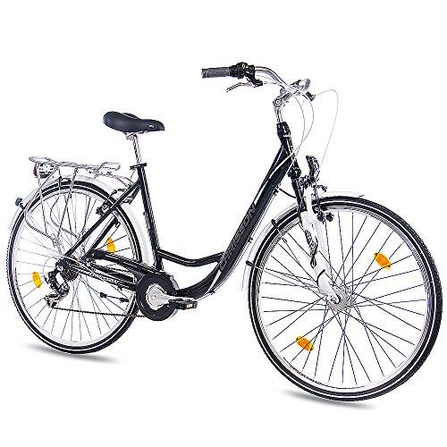 CHRISSON 28 Zoll Damen City Bike - Relaxia 1.0 schwarz - Damenfahrrad mit 6 Gang Shimano Tourney Kettenschaltung und Nabendynamo, Cityfahrrad mit Zoom Federgabel