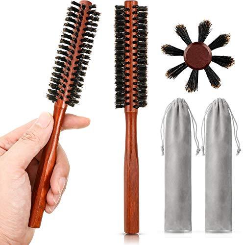 2 Piezas Cepillos de Pelo Redondo Pequeño Mini Cepillo de Barba de Cerdas para Hombres Mujeres con 2 Piezas Bolsas de Cordón para Cabello Fino o Corto