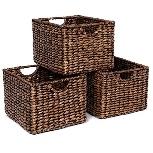 BIRDROCK HOME Storage Shelf Baskets with Handles - Set of 3 - Abaca Seagrass Wicker Basket - Pantry Bathroom Shelves Organization - Natural Under Shelf Basket - Handwoven (Brown Wash)