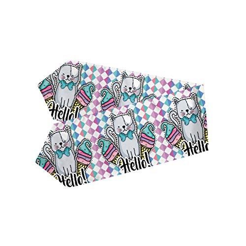 MOMOYU - Camino de mesa con patrón geométrico para gato, antideslizante, resistente al calor, fiesta, boda, cocina, cena, granja, picnic, decoración de mesa, 33 x 177 cm