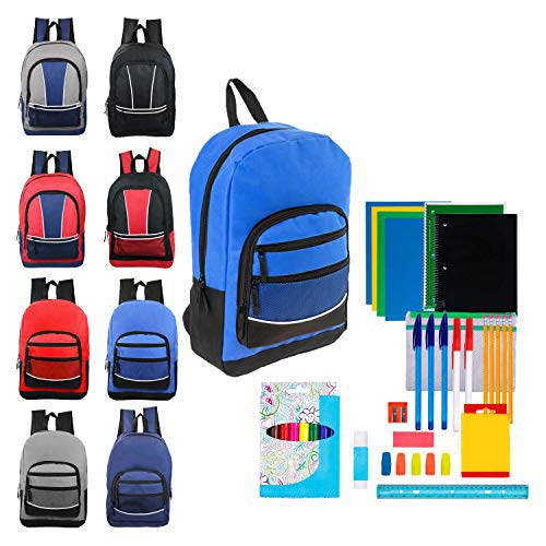 Case of 12 Pack Bundles - 17 Inch Sport Bulk Backpacks with 52 Piece School Wholesale Supply Kit in 8 Assorted Styles