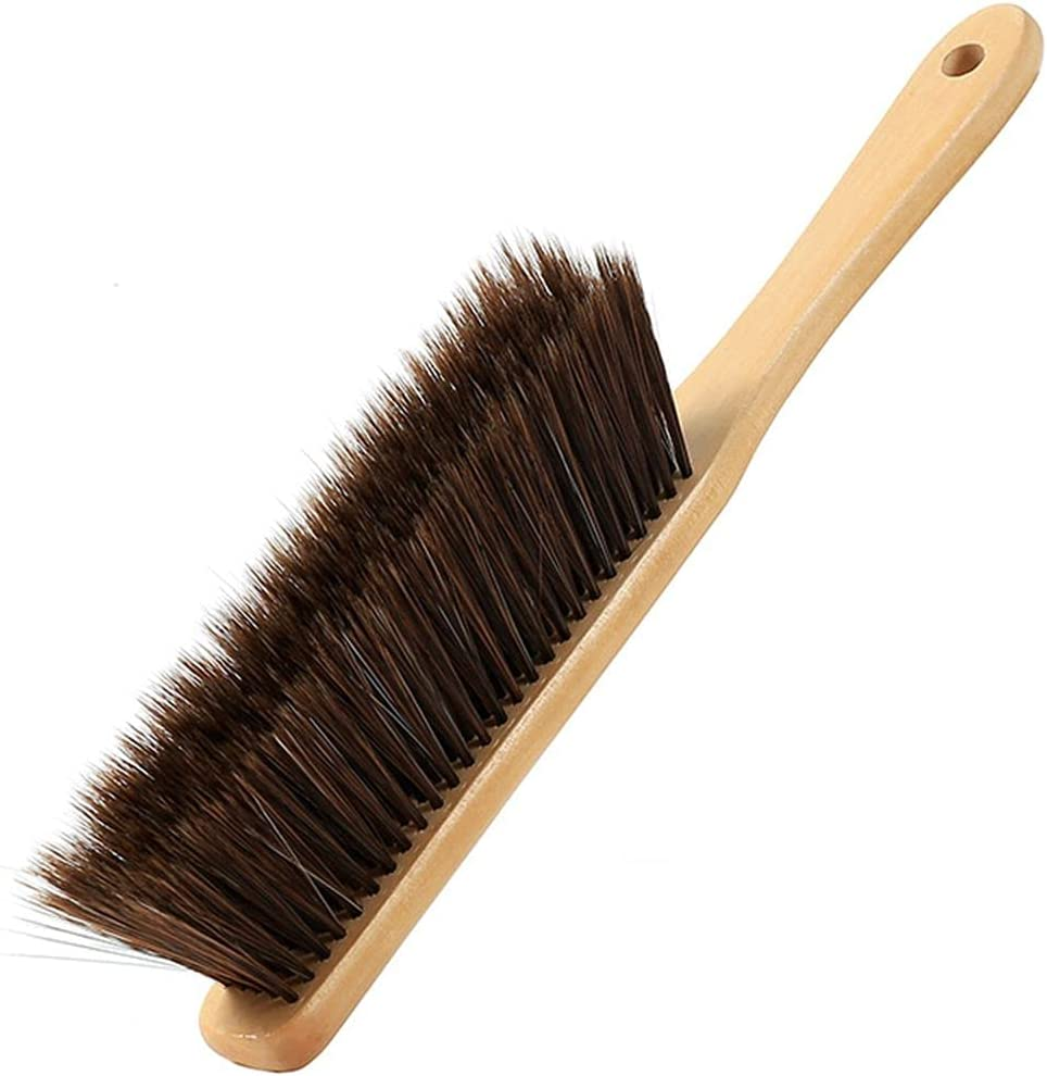 Hand Broom Dust Brush Bench Brush with Wood Handle for Bench,Counter,Bed,Sofa,Clothes,Car : Health & Household