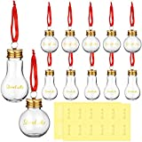 12 Pieces Christmas Booze Balls Christmas Fillable Booze Light Bulb Containers Clear Plastic Christmas Ornaments Balls with Drink Me Stickers for Home Christmas Tree Party Decoration, 50 ML