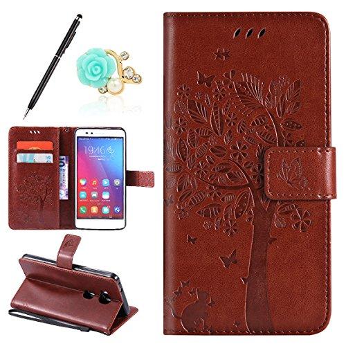 Huawei Honor X5/GR5 Lederhülle, Uposao für Huawei Honor 5X Hülle Hellbraun Drucken Katzen Fangen Schmetterlinge Baum Muster Design PU Leder Tasche Flip Hülle Cover Schutzhülle Handy Schale Backcover W