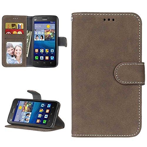 Huawei Y635 Hülle Leder Tasche, Huawei Y635 Handyhülle Klassisch Brieftasche Stoßfest Schutzhülle Elegant Handytasche Flip Case Cover Magnetverschluss Schale Standfunktion, Braun