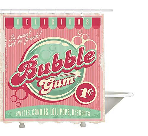 Yeuss 1950er Jahre Duschvorhang, Bubble Gum leckere Bonbon Lutscher süßer Zucker werben im Posterstil, Stoff Badezimmer Dekor Set mit Haken, blass rosa Magenta Seafoam