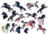 SanerLian Waterproof Temporary Fake Tattoo Stickers Watercolor Unicorn Horse Animals Cartoon Set of 2